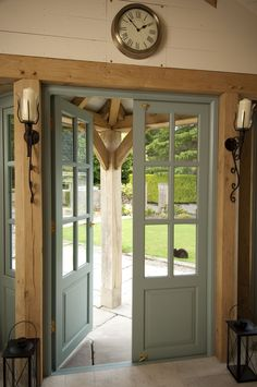 Painted Doors, The Green Oak Framing Garden Room  www.greenoakframing.com