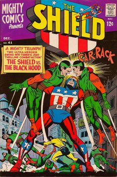 Mighty Comics #41 - Mighty Comics Group -  Features two The Shield (one with the Black Hood) stories. Written by Jerry Seigel with Paul Reinman art.