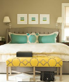 House of Turquoise: Nifelle Design Fine Interiors - gray tufted upholstered platform bed with turquoise pillows and a yellow bedroom bench House Of Turquoise, Yellow Turquoise, Aqua, Yellow Art, Gray Yellow, Blue Art, Purple, Turquoise Bedroom Decor, Turquoise Pillows