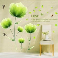 SHARE & Get it FREE | Fashion Green Floral Pattern Wall Sticker For…