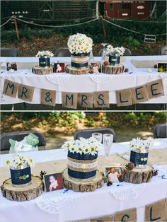 Navy and white wedding with love for burlap. Love tree stumps!
