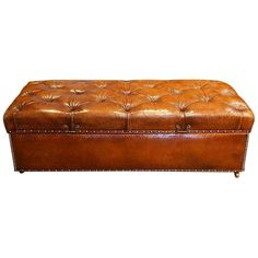 View this item and discover similar for sale at - Large Edwardian leather ottoman Here we have this large ottoman in fine buttoned leather. We have recovered this Edwardian piece in by our own craftsmen