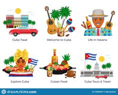 Illustration About Cuba Travel Icons Set With Food And Music