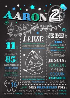 589aa352305df Poster   signs   Chalkboard keepsake birthday 1 year baby boy  2. Carte  Anniversaire ...