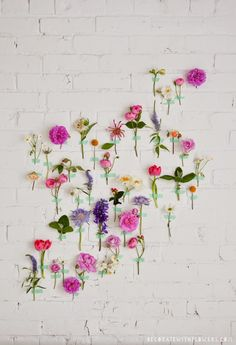 flowers taped to wall with washi tape