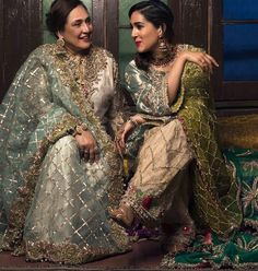 Beautiful ladies wearing ( ・・・ and beautifully encapsulating the true quintessence of heirlooms, makes more than just clothes by Photography & Makeup by Jewels by Pakistani Wedding Outfits, Pakistani Wedding Dresses, Bridal Outfits, Shadi Dresses, Indian Dresses, Indian Outfits, Pakistani Couture, Indian Couture, Pakistan Fashion