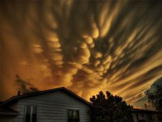 Mammatus clouds over Quebec, Canada. Mammatus, also known as mammatocumulus, is a meteorological term applied to a cellular pattern of pouches hanging underneath the base of a cloud. Photo by: Michel Filion Formation Photo, Mammatus Clouds, Cloud Photos, Make Pictures, Natural Phenomena, Natural Disasters, Amazing Pics, Awesome, Santa Catarina