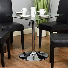 Hartleys Adjustable Height Square Table - Clear Glass Home Decor Furniture, Dining Room Furniture, Square Tables, Clear Glass, Appliances, Decoration, Interior, Gadgets, Decor
