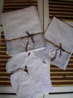 Orthodox Baptism Set Lathopana -Boys Baptismal set-5 Pieces Towel Set Orthodox Baptism-Greek Christening