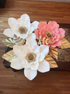 7pc paper flower set decor. Customizada a cualquier color