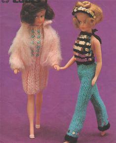 PDF Dolls Clothes Knitting Pattern : 11 - 12 inch Dolly . Sindy . Barbie . Fashion Doll . Instant Digital Download by PDFKnittingCrochet on Etsy