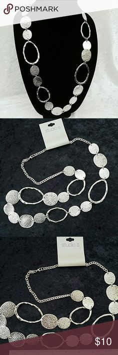 "Beautiful Silver Necklace  NWT NWT.  Pretty 36"" chain with various circles and ovals having different textures.  Chain can be adjusted to various lengths. Brand new - excellent condition- never worn. Studio S Jewelry Necklaces"