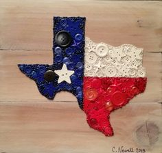 Button Art Texas on Recycled Wood with Acrylic Paint Background #buttons #button #art #texas