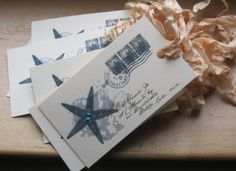 french market etoile de mer starfish paris postcard tags set