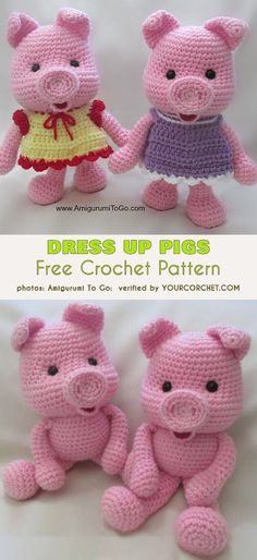 Dress Up Pigs Free Crochet Pattern