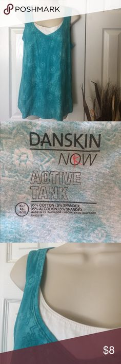 Active tank Pretty aqua with faux white under tank. Danskin Now Tops Tank Tops
