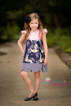 Dress by Because of Brenna; Dear Stella Carousel fabric; modified Tie Dye Diva pattern