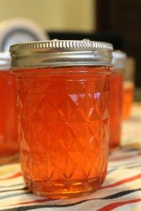 Grapefruit Jelly made from bought grapefruit juice.