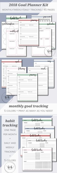 Are you ready to make 2018 your best year yet? Do you have big dreams that you're ready to put into action? Kick off the New Year with a new 2018 Goal Planner! Set up your planner goals with this printable productivity planner.   The Goal Planner 2018 Kit includes: >> 5 Goal Brainstorming Sheets >> 12 Monthly Goal Pages >> 12 Monthly Calendar Pages  >> 5 Weekly + Daily Habit Tracker Pages >> Monthly Reflection Pages  >> 4 Motivational Art Prints