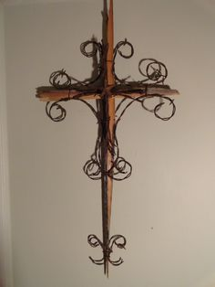 Rustic Wood and Barbed Wire Cross