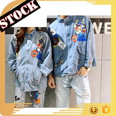 L1933 Fashion Clothing 2017 Fall And Winter Jeans Coat Wash Color Print Denim Jacket Men And Women clothing