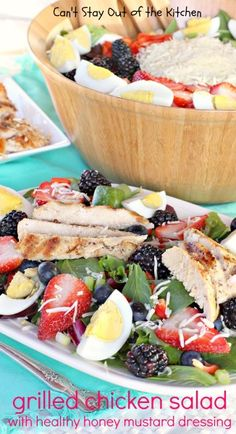 Grilled Chicken Salad with Healthy Honey Mustard Dressing - fabulous, heavenly #salad! #chicken #saladdressing #glutenfree via Can't Stay Out of the Kitchen
