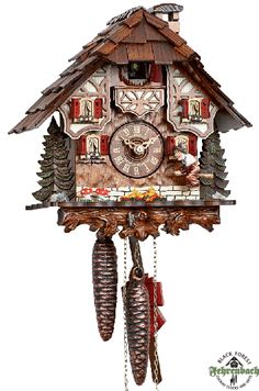 Black Forest Cuckoo Clock with moving witch. Handmade in Germany.