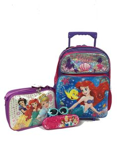 """Ariel The Little Mermaid and Flounder Large 16"""" Roller Backpack Combo Set. ***Free Shipping for Limited Time Only***Free Shipping Applies to U.S. 50 States...Super Deal Compares to Retail Stores, No Waiting in Lines. Ariel The Little Mermaid and Flounder Large 16"""" Roller Backpack, Disney Princess Insulated Lunch Bag, Princess Pencil Case with Zipper and One Stylish Sunglasses Set; Color of the Sunglasses will be Sent by Random. New Arrival Comfortable Backpacks, Trendy Handbags, Popular..."""