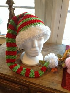 Christmas hats for newborn to adult free crochet patterns elf striped elf hat free adult sized crochet pattern by sheri goad dt1010fo