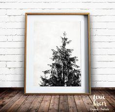 Scandinavian Art Tree Print Black and White Print by LexieGreerArt