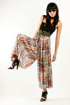 Pants, in fine, drapy fabric, 3/4 length, not too much bulk gathering around waist. Maybe even a wide waistband