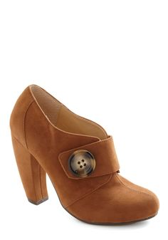 Boot as a Button - Brown, Solid, Buttons, Casual, Vintage Inspired, Fall