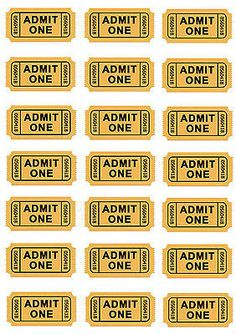 Edible Cinema Tickets cupcake or cake toppers