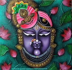 Pichwai Paintings, Indian Art Paintings, Mural Painting, Texture Painting, Fabric Painting, Glass Painting Patterns, Paint Patterns, Krishna Art, Krishna Painting
