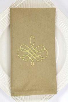 Embroidered Dinner Napkin in Olive