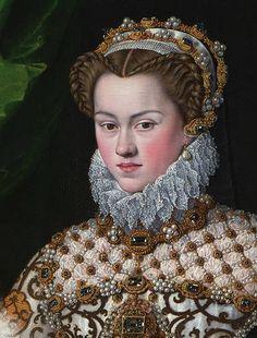 Elisabeth of Austria, Queen of France (Monastery of Las Descalzas Reales, Madrid) - Wikimedia Commons Fashion History, Fashion Art, Austria, Mode Renaissance, 16th Century Fashion, Elizabethan Era, French Royalty, Renaissance Portraits, Elisabeth
