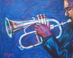 Jazz Music Painting  ORIGINAL Oil Pastel on Paper by BethanyBryant