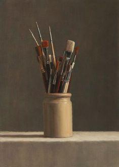 Still Life - Long Brushes by Harry Holland Oil on panel Still Life Painting, Art Oil, Art Works, Art Painting, Artist Inspiration, Still Life Photography, Still Life, Still Life Art, Realistic Paintings