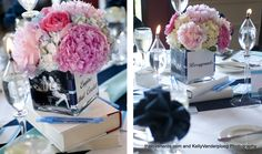 "Tables were named for our favorite books, and then we wrapped books in white butcher paper to use under the vases for our center pieces #wedding, literary wedding, book themed wedding, book centerpieces, table names ""The Love Nerds: A Book Nerd Wedding"""
