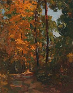 "Paul Turner Sargent (American, 1880-1946), ""Sunlit Path in Autumn"", c. 1920; Landscape painter from Charleston, Illinois. Sargent exhibited at the Hoosier Salon."