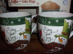 FITZ & FLOYD MUGS 2  CHRISTMAS HOLIDAY MATCHING PAIR SNOWMAN Coffee Chocolate #FitzFloyd