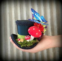 Micro Mini Top Hat, The Caterpillar from Alice in Wonderland, Mad hatter Hat, Tea party mini top hat, Bridal shower hat, Mad Tea Party