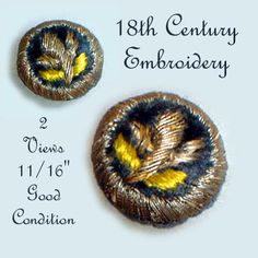 Image Copyright RC Larner ~ 18th C. Embroidered Button ~ R C Larner Buttons at eBay & Etsy          http://stores.ebay.com/RC-LARNER-BUTTONS