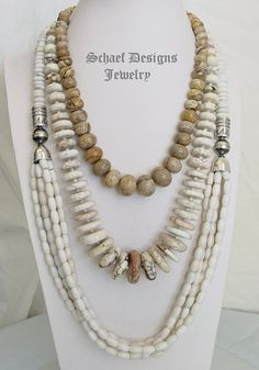 Schaef Designs Large picture jasper, white turquoise disk, & off white agate long multi strand necklaces | New Mexico