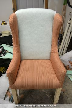 DIY wingback dining chair - how to upholster the frame - 61