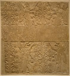 Period: Neo-Assyrian Date: ca. 883–859 B.C. Geography: Mesopotamia, Nimrud (ancient Kalhu) Culture: Assyrian Medium: Gypsum alabaster Dimensions: 90 1/2 x 84 1/2 x 6 in. (229.9 x 214.6 x 15.2 cm)