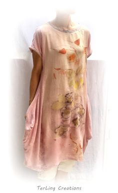 Tunic dress of own natural prints and dyes Blog http://terriekwong.blogspot.hk/2017/06/ever-loved-flower-printed-garment.html
