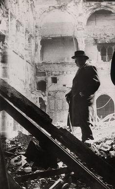 Winston Churchill inspecting bomb