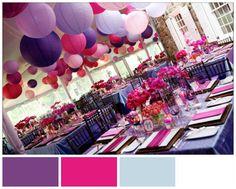 Purple, Magenta, Baby Blue and White Winter Wedding Colour Scheme. #ezeevents #weddings