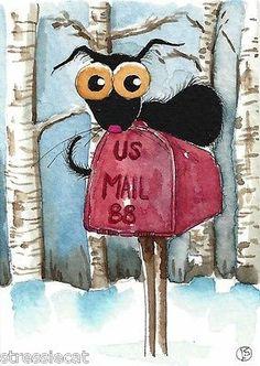 ACEO Original Watercolor Folk Art Illustration Stressie Cat Snow Mail Box Trees | eBay